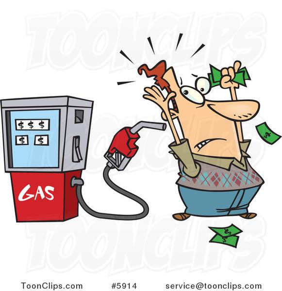 Cartoon Gas Pump Holding Up A Customer 5914 By Ron Leishman