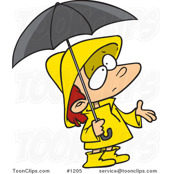 Cartoon Girl in Rain Gear, Waiting for Showers #1205 by ...