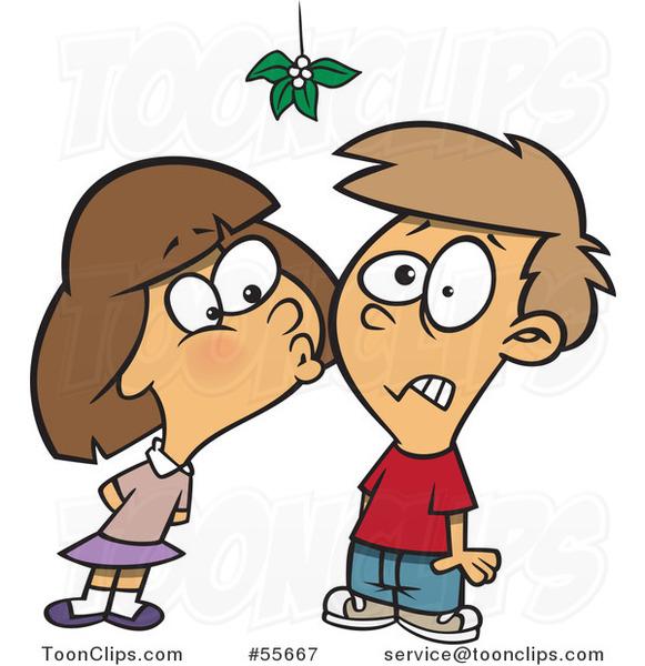 Cartoon Girl Kissing A Boy Under Mistletoe 55667 By Ron