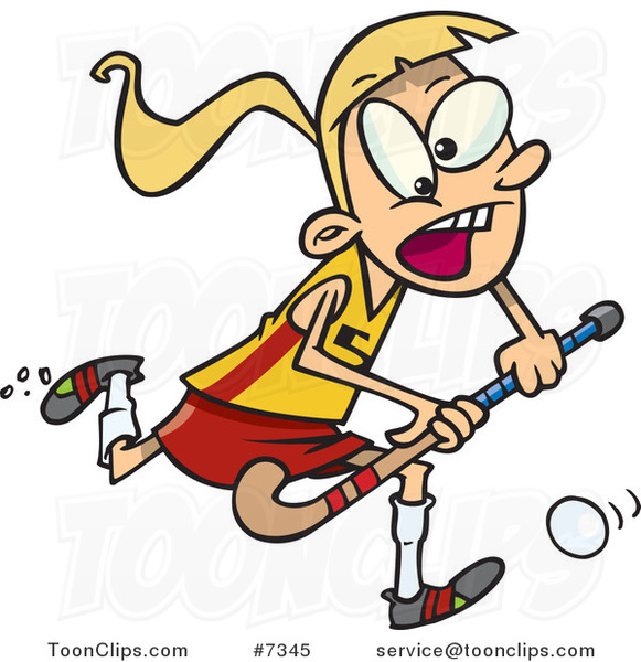 Cartoon Girl Playing Field Hockey