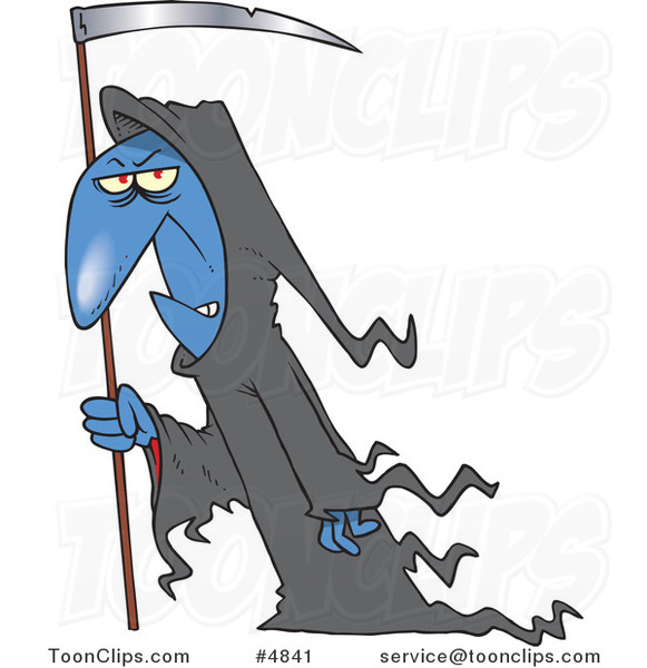 Cartoon Grim Reaper with a Scythe #4841 by Ron Leishman