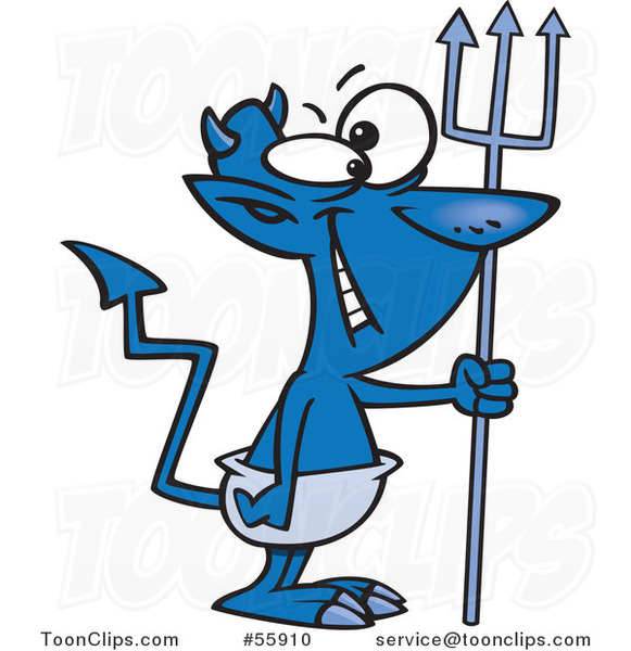 Cartoon Grinning Blue Devil with a Crooked Tail