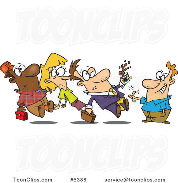 cartoon group of people running into each other 5388 by person running away clipart person running late clipart