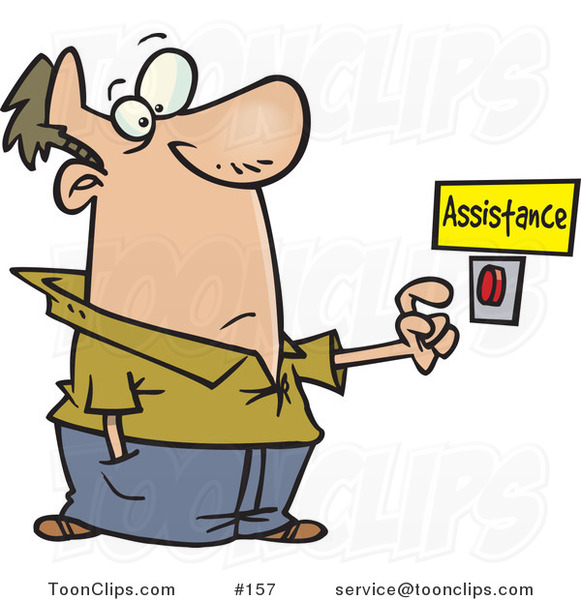 Cartoon Guy About To Push A Customer Service Button Under An Assistance Sign 157 By Ron Leishman
