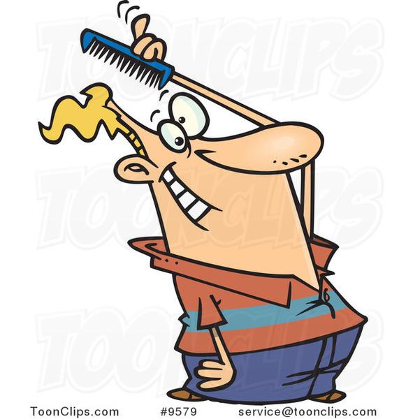 Cartoon Guy Combing His Hair 9579 By Ron Leishman