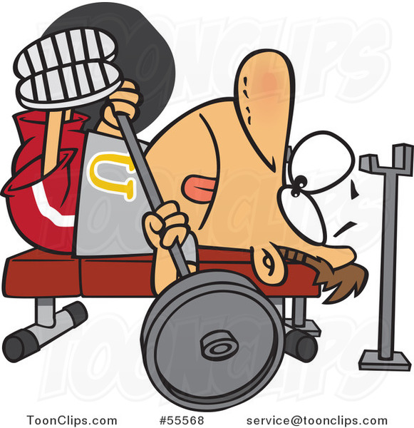 Cartoon Guy Doing the Chest Press on a Gym Bench