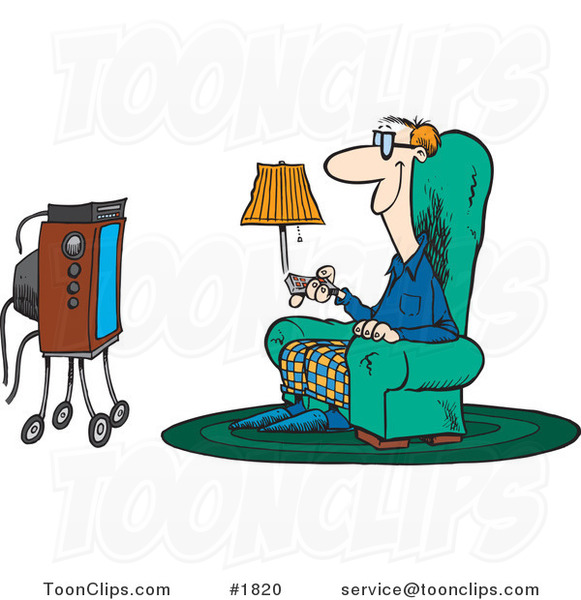Cartoon Guy Sitting in a Chair and Watching Tv #1820 by ...