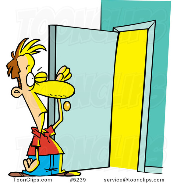Cartoon Guy Standing at an Open Door with Bright Light #5239 by Ron Leishman  sc 1 st  Ron Leishman & Cartoon Guy Standing at an Open Door with Bright Light #5239 by Ron ...