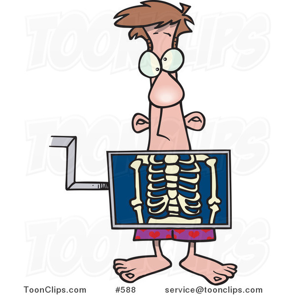 Cartoon Guy Standing Behind An Xray Machine 588 By Ron