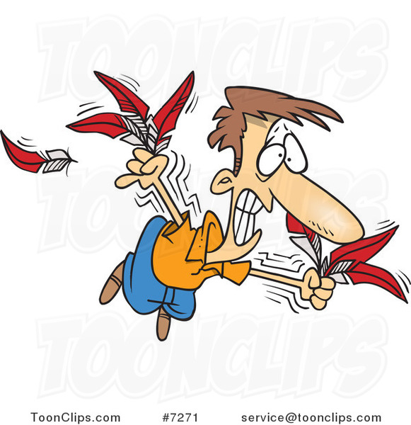 Cartoon Guy Trying to Fly with Feathers #7271 by Ron Leishman