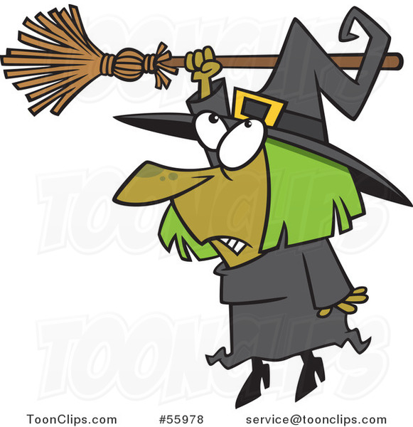 Cartoon Hapless Halloween Witch Hanging from Her Broomstick
