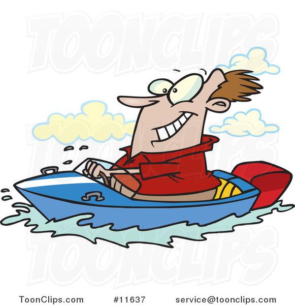 Cartoon Outboard Motors : Cartoon happy guy driving a motor boat on lake by