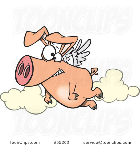 Cartoon Happy Pig Flying
