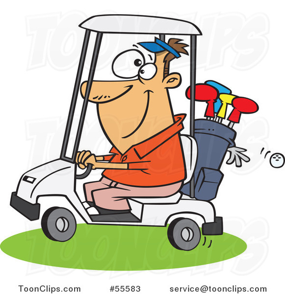 Cartoon Happy White Guy Driving A Golf Cart 55583 By Ron Leishman
