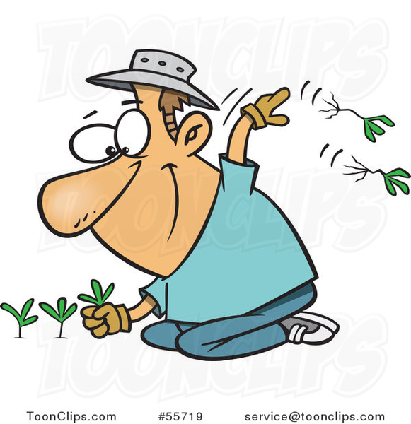 Cartoon Happy White Guy Pulling Weeds #55719 by Ron Leishman