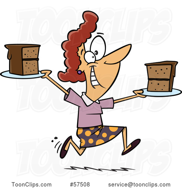 Cartoon Happy White Lady Running with Slices of Cake