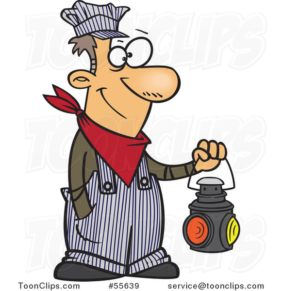 cartoon happy white train engineer guy holding a lantern clip art of cats clip art of cats loyal to girls