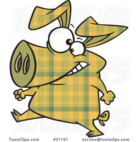 Cartoon Happy Yellow Plaid Pig Walking Upright