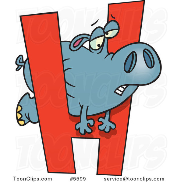Cartoon Hippo Squeezing Through a Letter H #5599 by Ron ...