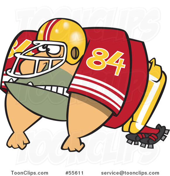 Cartoon Huge American Football Lineman Player 55611 By Ron Leishman