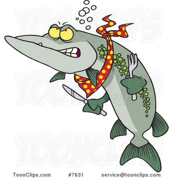 Cartoon Hungry Muskie Fish