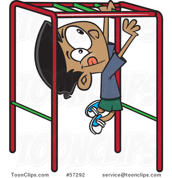 Cartoon Indian Boy Playing on Playground Monkey Bars #57292 by Ron Leishman