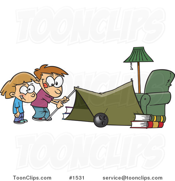 Cartoon Kids Setting up a Camping Tent in a Living Room