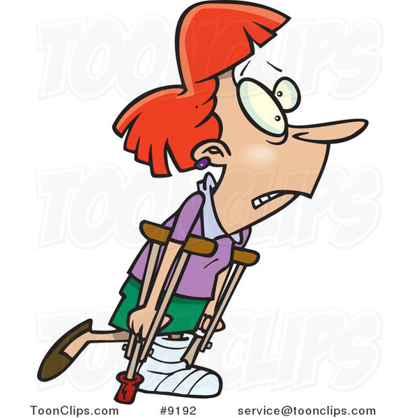 Cartoon Lady Using Crutches