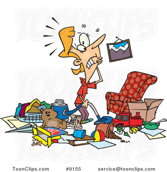 Messy Living Room: Cartoon Lady With A Messy Living Room #9155 By Ron Leishman