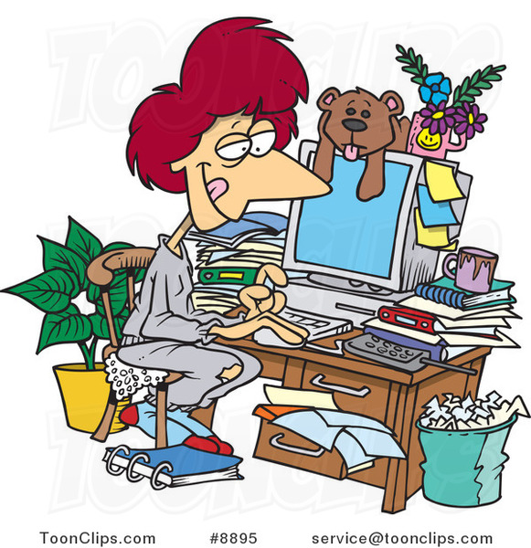 Cartoon Lady Working In Her Pjs In Her Cluttered Home