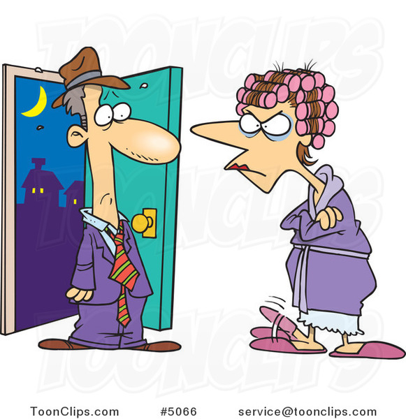 Cartoon Mad Wife Glaring At Her Late Husband 5066 By Ron Leishman