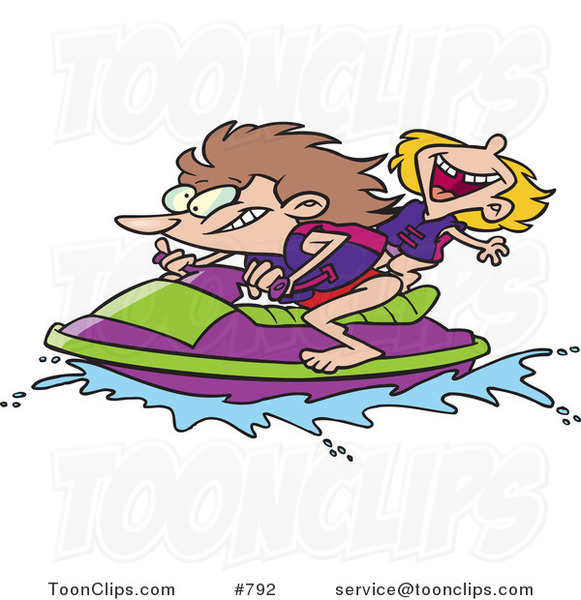 Cartoon Mother And Daughter Riding A Jet Ski 792 By Ron Leishman