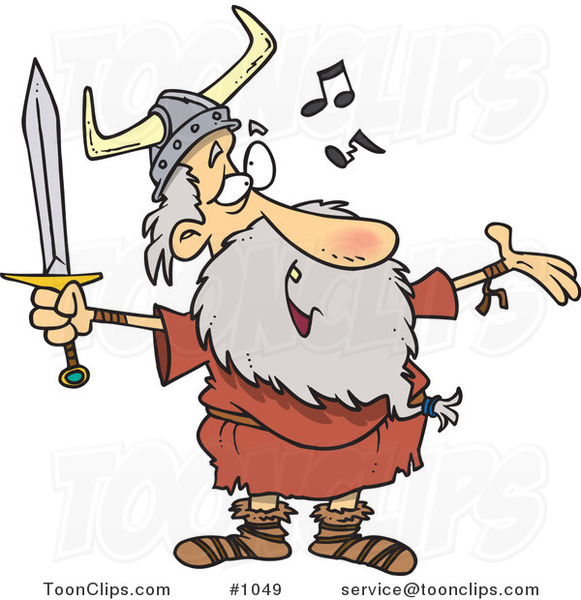Cartoon Old Viking Holding A Sword And Singing 1049 By