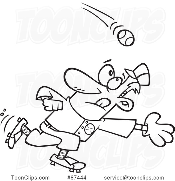 Cartoon Outline Baseball Player Going in for a Catch