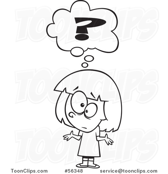 Cartoon Outline Confused Girl Shrugging Under A Question Mark 56348