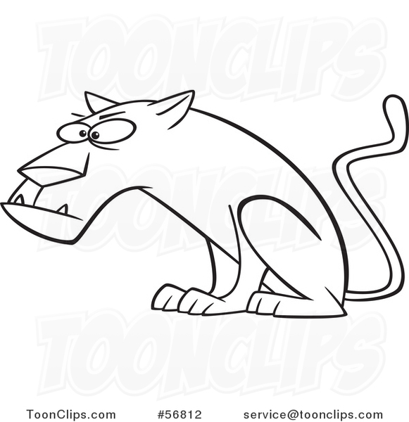Cartoon Outline Curious Panther Big Cat Sitting 56812 By Ron Leishman