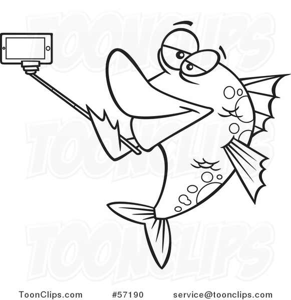 cartoon outline fish taking a portrait with a selfie stick 57190 by ron leishman - Outline Of Fish