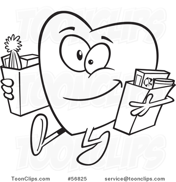 Cartoon Outline Giving Heart Character Carrying Bags of Groceries to Donate