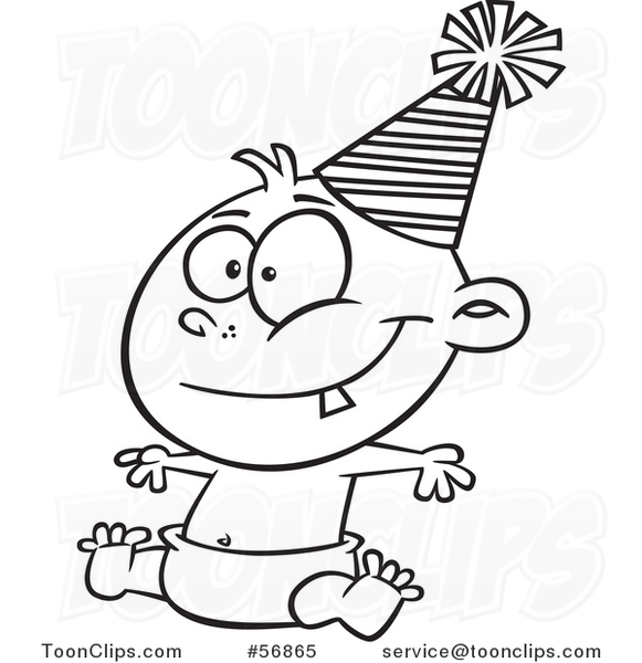 Cartoon Outline New Year Baby Sitting In A Diaper And Wearing A Party Hat 56865 By Ron Leishman