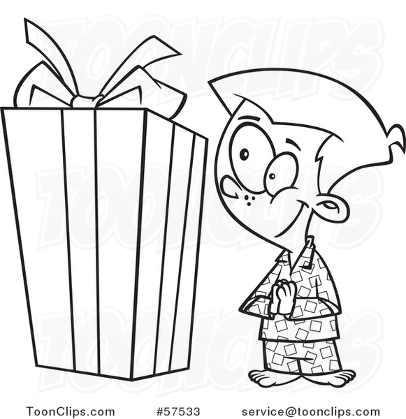 Cartoon Outline Of Excited Boy Looking At A Large Christmas Present 57533 By Ron Leishman