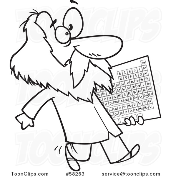 Cartoon outline of guy dmitri mendeleev carrying the periodic cartoon outline of guy dmitri mendeleev carrying the periodic table of elements 58263 by ron leishman urtaz Image collections