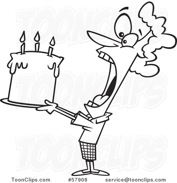 Cartoon Outline Of Lady Swallowing An Entire Birthday Cake 57908 By