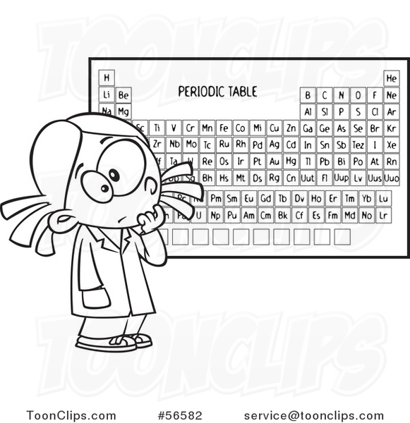 Cartoon Outline School Girl Studying The Periodic Table Of Elements