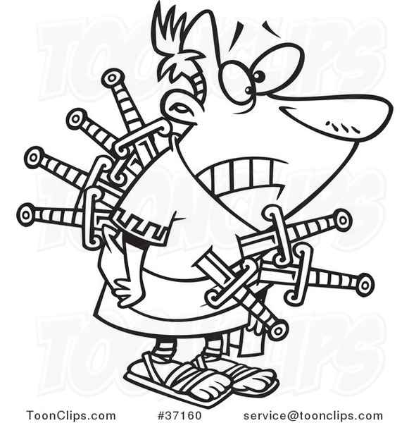 Cartoon Outlined Betrayed Caesar Stabbed with Swords on the