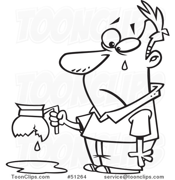 Cartoon Outlined Tearing Guy Holding A Broken Coffee Pot 51264 By Ron Leishman