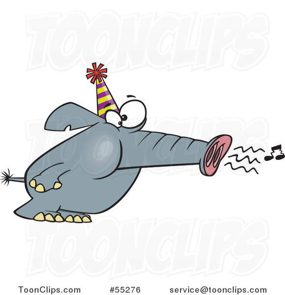 Cartoon Party Elephant Blowing His Trunk like a Horn