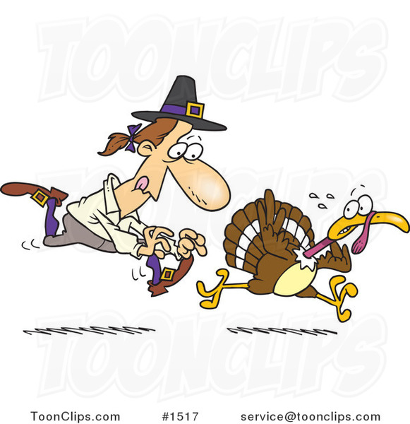 cartoon pilgrim chasing a turkey bird 1517 by ron leishman cats clip art free cats clip art free printable