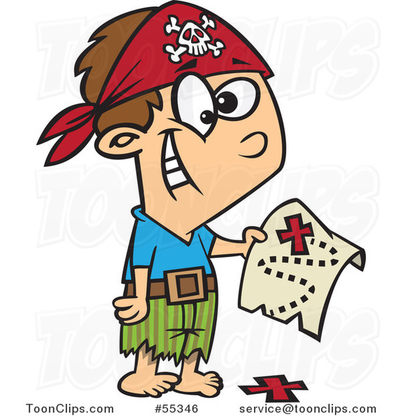 Cartoon Pirate Boy Holding a Map over the X on the Ground