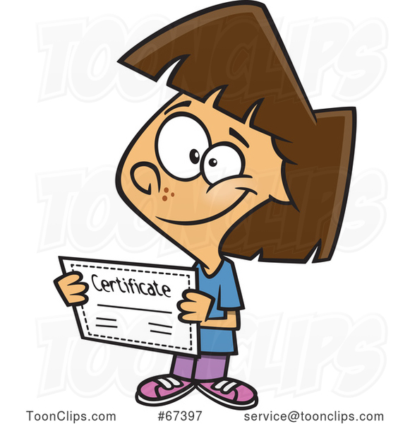 Cartoon Proud Brunette White Girl Holding a Certificate