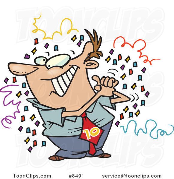 Cartoon Proud Business Man Celebrating His 10th Job Anniversary